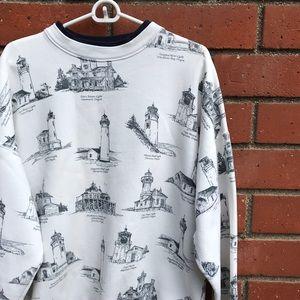 Vtg '92 Oregon Lighthouses All-Over Print Sweater